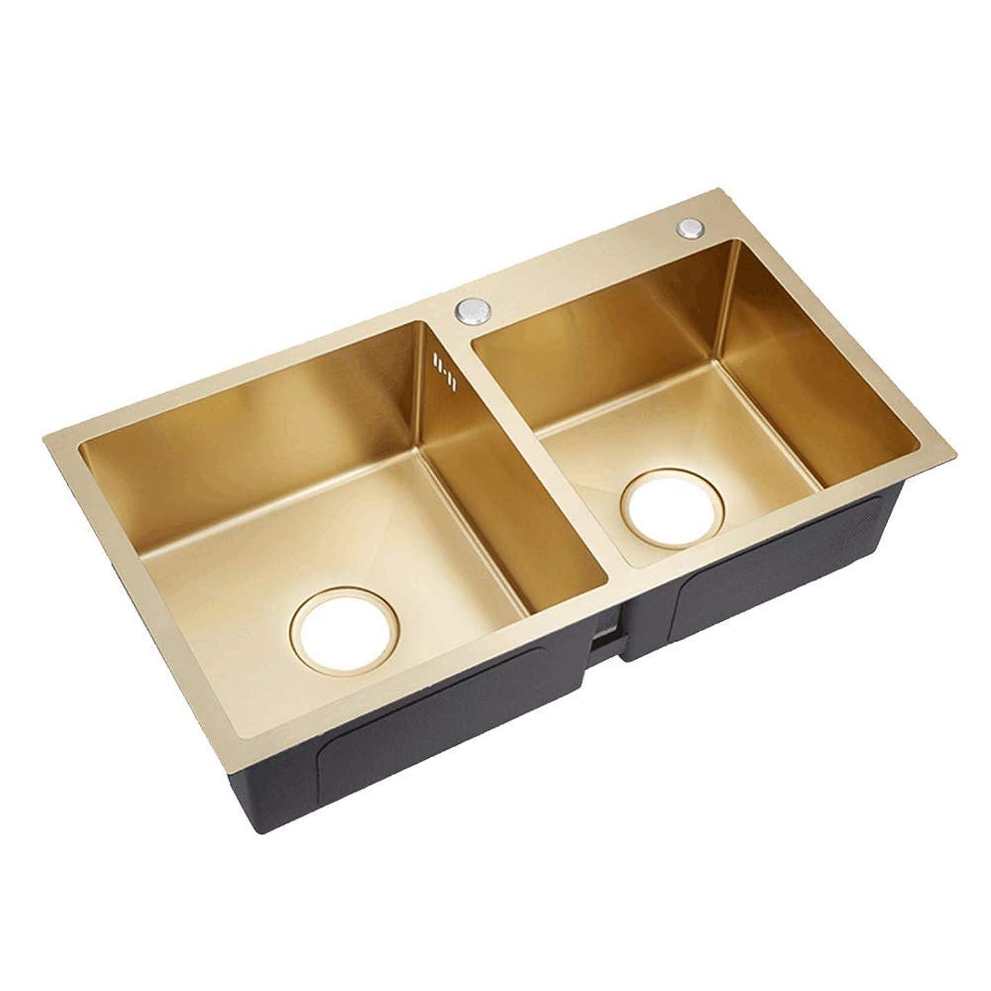 カエルゴールド取り替えるAQJD つや消しゴールド ダブルボウル ステンレススチール キッチンシンクドロップ キッチン金具