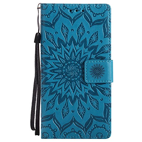 Dfly Nokia 3 Hülle, Premium Slim PU Leder Mandala Blume Prägung Muster Flip Hülle Bookstyle Stand Slot Schutzhülle Tasche Wallet Hülle für Nokia 3, Blau