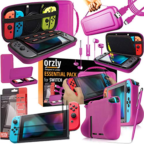 Orzly Ultimate Pack Accesorios para Nintendo Switch [Incluye: Protectores de Pantalla, Cable...