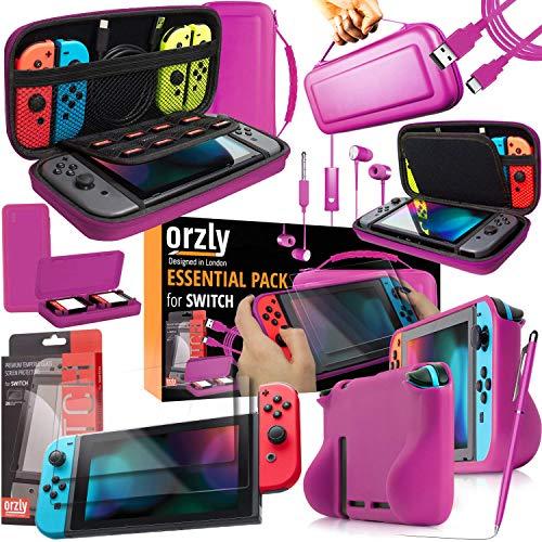 Orzly Ultimate Pack Accesorios para Nintendo Switch [Incluye: Protectores de Pantalla, Cable USB, Funda para Consola, Estuche Tarjetas de Juego, FlexiCase para los mandos JoyCon, Auriculares] – Rosa