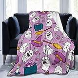 3D Halloween Cute Broomsticks Ghost Throw Blanket for Kids Baby Soft Fleece Blanket for Teens Adults,Twin(60x80)