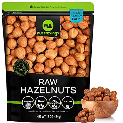 Raw Hazelnuts Filberts with Skin, No Shell (16oz - 1 Pound) Packed Fresh in Resealable Bag - Nut Trail Mix Snack - Healthy Protein Food, All Natural, Keto Friendly, Vegan, Kosher