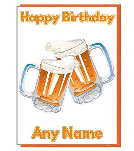 Personalisierte Geburtstagskarte mit Biermotiv, Name und Alter hinzufügen.