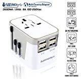 Power Plug Adapter - International Travel - w/USB Ports Work for 150+ Countries - 220 Volt Adapter - Travel...