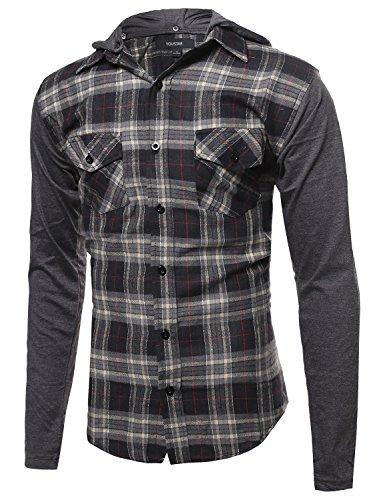 Plaid Checkered Detachable Hoodie Color Contrast Flanel Shirt Black Natural S