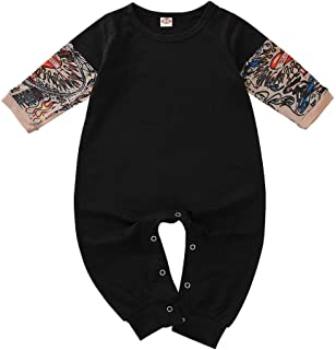 Gallity Toddler Baby Boy Girl Jumpsuit Tattoo Sleeve One-Piece Romper Bodysuit Halloween Outfit Costume Gift 3-24M (12-18 Months, Black)