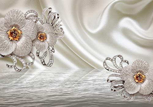 wandmotiv24 Fototapete Weisse Magnolien Diamanten XL 350 x 245 cm - 7 Teile Fototapeten, Wandbild, Motivtapeten, Vlies-Tapeten Blumen, Seide, luxuriös M1221
