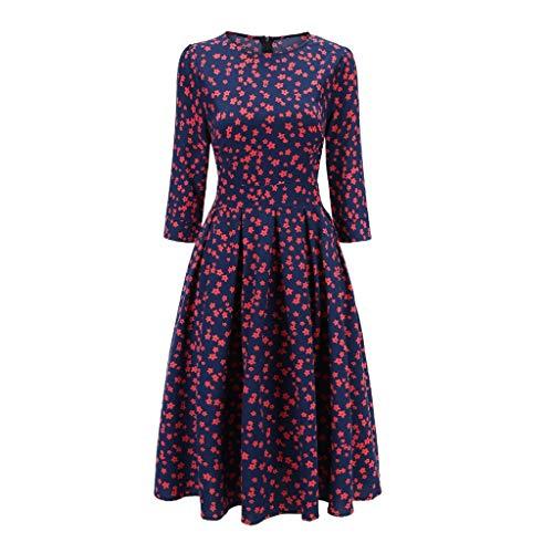 YWSZJ Damas Elegante A-Line Mid-Longor Vestido Retro Impresión Partido Damas Primavera Vestido Casual (Size : Large)