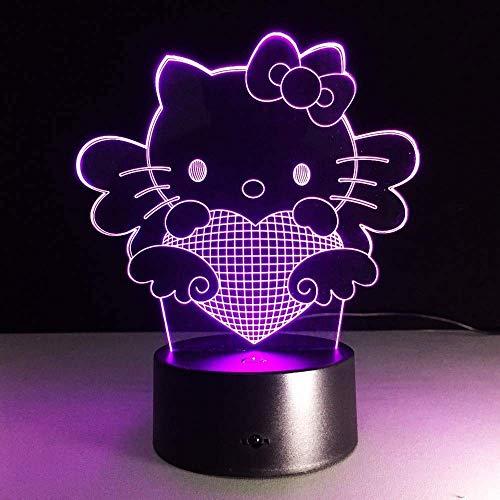Luz nocturna linda gatito gato 3D foco lámpara LED luz nocturna luz USB lámpara de mesa para gatito ventilador habitación bebé noche luz de dormir bebé niña regalo luz estéreo luz