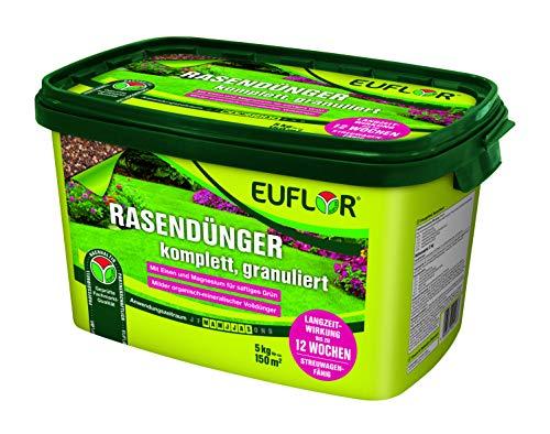 Euflor Rasendünger 5kg granuliert•milder Organisch-mineralischer Spezial-Dünger 10+4+5 mit 2{5902ac86382aa6f8fb854a3aefc8eb693404b4bf76145abf2aef5d6ab224a042} MgO und 1{5902ac86382aa6f8fb854a3aefc8eb693404b4bf76145abf2aef5d6ab224a042} wasserlöslichem Eisen•Granulat zur Bodenverbesserung•Beseitigt Nährstoffmängel