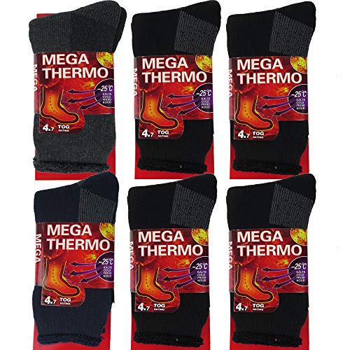 6 Pairs Debra Weitzner Thermal Socks For Men and Women Heated Winter Socks Insulated for Cold Weathers Assorted