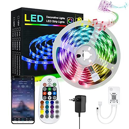 LED Strip Bluetooth, IIYL 6m RGB LED Streifen Farbwechsel LED Stripes Lichterkette Lichtleiste Steuerbar via IR Fernbedienung und App mit Musikmodus für Schlafzimmer Auto Küche Decke TV Bar Party(6m)