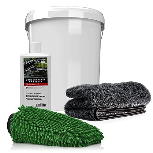 detailmate Juego de lavado para coche y moto (ValetPRO Concentrated Car Wash 500 ml + cubo de lavado con tapa + guante de lavado + paño seco 1000 g/m²)