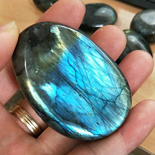 Waroomss 1 pc Pierre polie de labradorite, morceau d'artisanat de quartz poli de pierre de lune de cristal naturel pour des passages, herbe de jardin, fabrication de collier, décoration d'aquarium