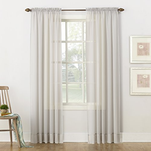 """No. 918 53566 Emily Sheer Voile Rod Pocket Curtain Panel, 59"""" x 84"""", Silver Gray"""