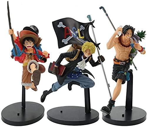 VNNY 21CM One Piece Ruffy Ace Sabo Anime Actionfigur DREI rennende Brüder Figur Spielzeug Sammlermodell für Kinder Geschenke-As-3 Stück