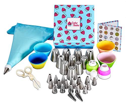 Cake2Bake Spritztüllen Set Profi aus Edelstahl für Torten & Cupcakes Dekoration - 81-Teiliges Tortendekoration Set mit 34 Edelstahl Tüllen, Spritzbeutel, Einweg-Spritzbeutel & Geschenkbox + E-Book