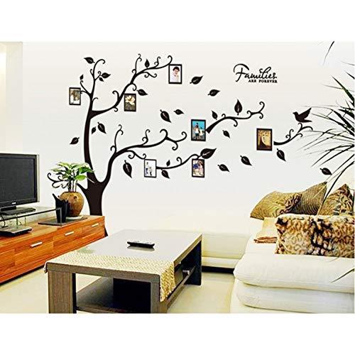 TYOLOMZ groot formaat familieboom fotolijsten op de boomtakken en zwevende vogels bruin decoratieve muurstickers muurstickers
