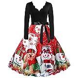 (2/3XL)パーティードレス 大きいサイズ 結婚式 ミモレ丈 長袖 liqiuxiang クリスマス パーティードレス ツリー コスプレ 雪だるま柄 カラードレス レディース セクシー ステージドレス ウェディング クリスマスワンピース ヴィンテージ風 かわいい