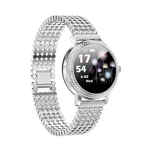 Aliwisdom Smartwatch per donna bambini, 1,08'' rotondo Smartwatch Fitness Tracker Impermeabil orologio fitness Cinturino in metallo per iphone Android, con Promemoria intelligente (argento)