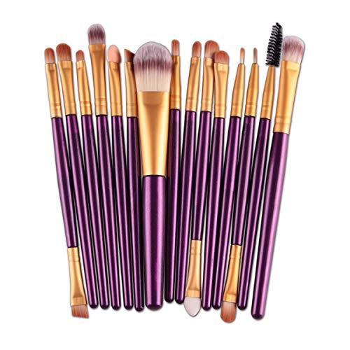 HSAGDAS Maquillage Pinceaux fard à paupières Sourcils Cils Fondation Pinceau Poudre pinceaux de maquillage, 15pcs (Couleur : Purple Gold, Size : One Size)