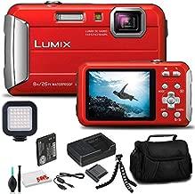 Panasonic Lumix DMC-TS30 Digital Camera (Red) (DMC-TS30R) - Bundle - with LED Video Light + Soft Bag + 12 Inch Flexible Tripod + Cleaning Set