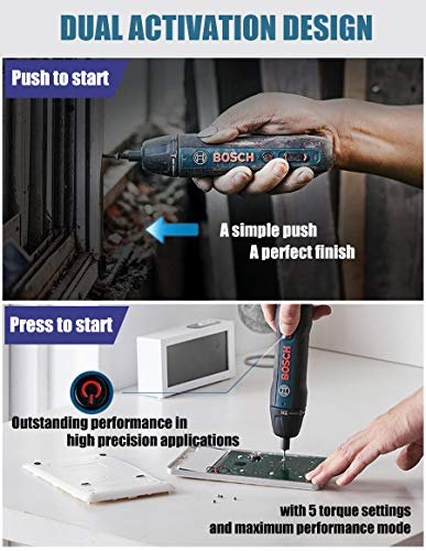 Power Screwdriver 2nd Generation Press/Push to Go Wireless Cordless Electric Handheld Screwdriver - Navy Plastic Case
