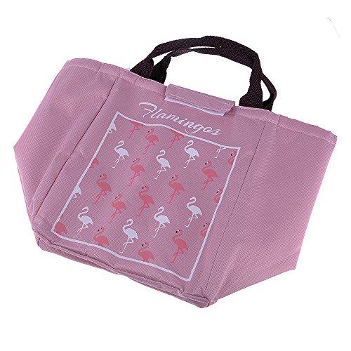 GOGOGO Flamingo Imperméable à l'eau Oxford isolé sac à lunch pique-nique Sac à Déjeuner Thermique Multi-usages pour Homme Femme Enfant - Rose