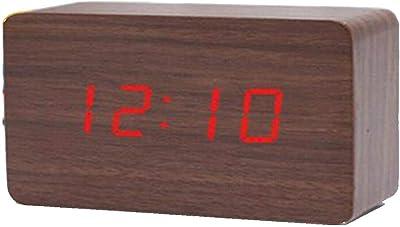 Madprice DIGITALER LED-Clock-Effect-Holz-Effekt MIT Alarm TON UND TEMPERATUR 1295