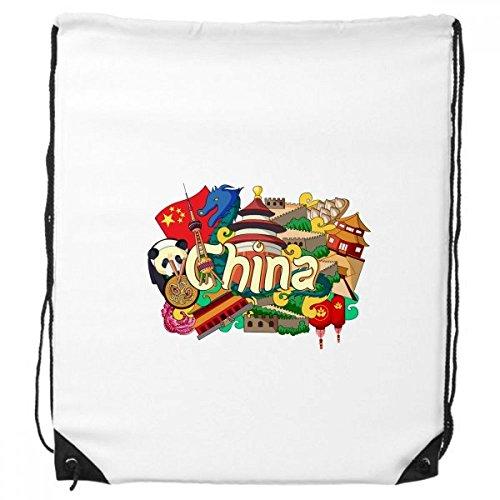 Panda Die große Mauer Imperial Palace China Graffiti Kordelzug Rucksack Shopping Handtasche Geschenk Sporttaschen
