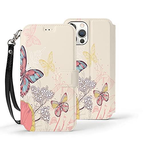 Funda para iPhone 12,Funda Tipo Cartera para iPhone 12 con Tarjetero,Dos Mariposas,Funda Protectora Interior de TPU a Prueba de Golpes para iPhone 12 de 6.1 Pulgadas
