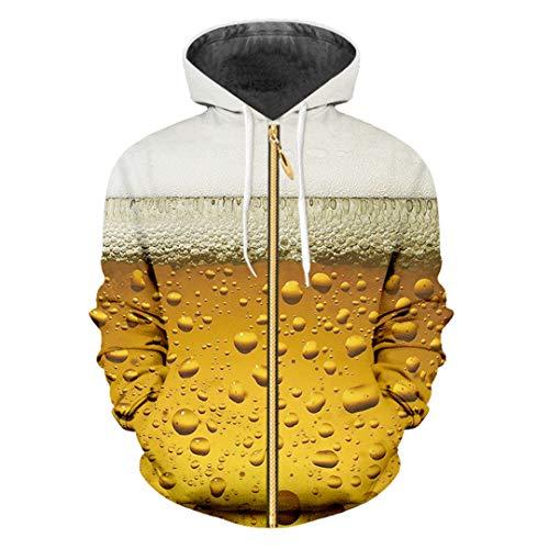 TN-KENSLY Harajuku Frauen/Männer Drucken Frisches Bier 3D Zip Hoodies Sweatshirt Langarm-Hoody Fresh Beer 5XL