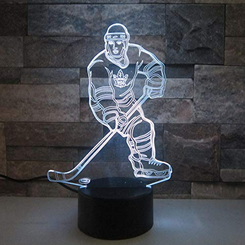 KangYD 3D Night Light Sports Hockey Player, LED Optical Illusion Lamp, E - Alarm Clock Base(7 Color), Decor Lamp, Gift for Child, Warm Lamp, Atmosphere Lamp, Gift for Boy