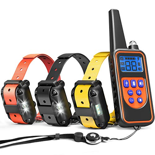 Shock Collar For Dogs, iSPECLE Upgraded Rechargeable Waterproof Dog Training Collar Dog Shock Collar with Remote 2600ft Tone Vibration Shock for Medium Large Breed, Dog training Collars for 3 Dog