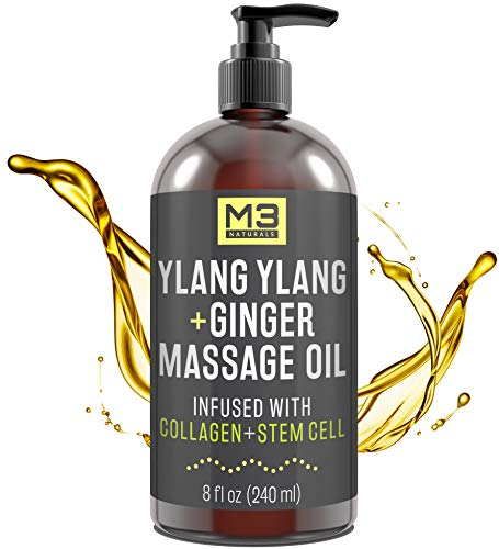 M3 Naturals Ylang Ylang and Ginger Massage Oil Infused with Collagen and Stem Cell Therapeutic Sensual Body Lotion Cream Essential Oils for Deep Tissue Relaxation Sore Muscle Tension Relief 8 fl oz
