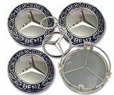 4X Tapacubos Mercedes 75mm Tapas Centrales Rueda,1 Llavero de Regalo Incluido,para Llantas de aleacion Clase E Clase C Cl CLS SLK ML GLK Clase A Clase B Amg