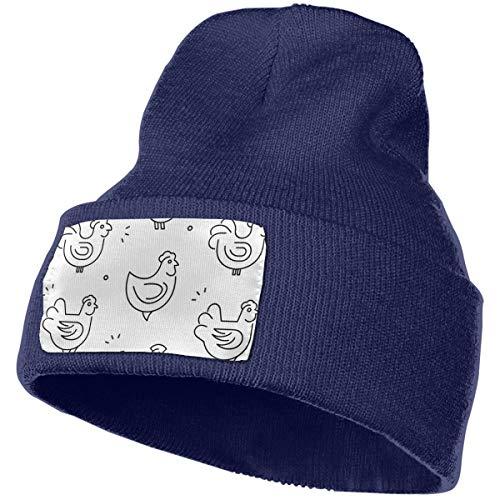 xinfub con gallinas Pollos Aislado sobre Fondo Blanco Unisex Invierno Verano cálido puños Liso Slouchy Skull Daily Knit Hat Cap