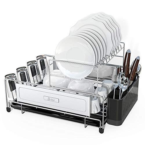 DDF iohEF Escurridor de platos de acero inoxidable 304 con bandeja de goteo extraíble Soporte para cubiertos Portavasos Tablero de drenaje antioxidante Secador de platos de cocina multifuncional