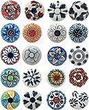 Ajuny 20 pomos de cerámica multicolor con aspecto vintage de flores para puerta y cajón