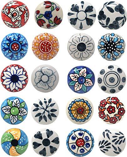 Ajuny - 20 pomelli in ceramica con motivo floreale, effetto vintage, multicolore