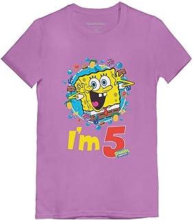 Official Spongebob - 5th Birthday I'm 5 Toddler/Kids Girls' Fitted T-Shirt