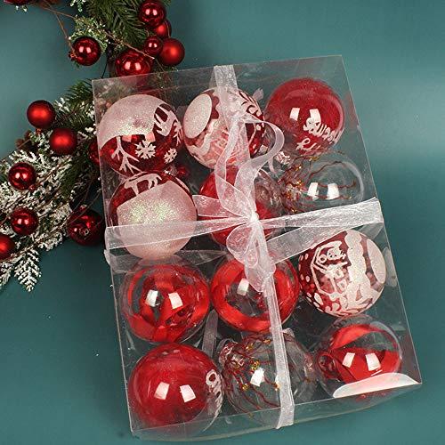 BESTWALED 12 unids/caja de árbol de Navidad colgante bola de Navidad decoraciones de Navidad Ø8CM decoración de bolas de colores Festival Navidad Año Nuevo Suministros Fino regalo plástico PVC rojo