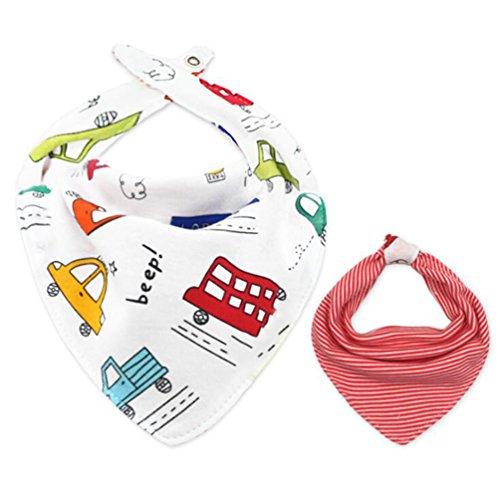 CuteOn katoen Bandana Dribble slabbetjes voor baby's en peuters OneSize 36 Red Bus