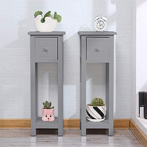 EXQUI Bedside Tables Set of 2 with Drawer Grey Slim Living Room Tables Small Nightstand with Drawers Telephone End Table for Small Space (25x25x70cm), G139H2
