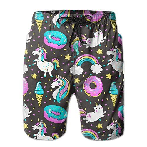 Herren Badehose Regenbogen Einhörner und Donuts Quick Dry Beach Board Shorts,M
