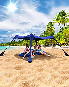 Sportneer 10x10 FT Sun Shelter Beach Tent UPF50+ with 4 Stability Poles Sand Shovel and Ground Pegs Portable Outdoor Sun Shade for Beaching Camping Trips Sport Event Fishing Backyard Picnics