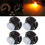 Frontl BriRay T5 NEO Wedge LED Dash Light Bulbs 3-3014-SMD Yellow A/C Climate Heater Controls Indicator Lights Instrument Panel Gauge Cluster Lights,4Pack
