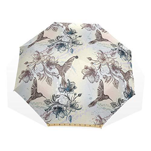 LASINSU Regenschirm,Vögel und Hibiskusblüten Nostalgie Antiker künstlerisches Design Klassischer Druck,Faltbar Kompakt Sonnenschirm UV Schutz Winddicht Regenschirm