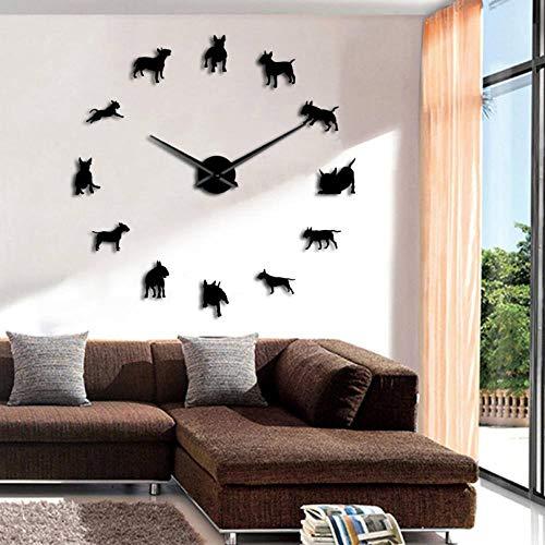 Hermoso Arte de Pared DIY Reloj de Pared Grande Raza de Perro Pug Reloj de Aguja Grande Reloj Tienda de Mascotas Decoración Regalo
