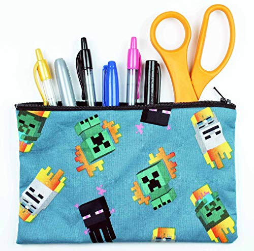 "Enderman and Creeper Fabric Pencil Case or Cosmetic Bag - 8"" x 5"" Zipper Pouch Made With Licensed Fabric - Hand Made In the USA"